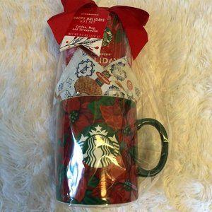 Starbucks Holiday Gift Mug Poinsettia Print 24oz